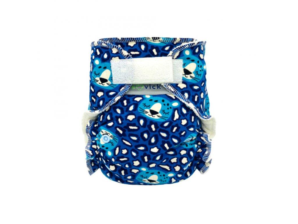 nohavickova plienka leopard na modrej SZ