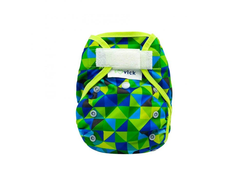 Vrchné nohavičky XL Zeleno-modré trojuholníky na suchý zips