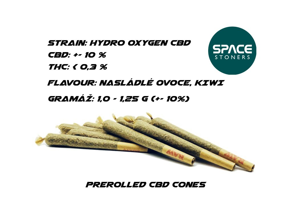 CBD Weed Space Stoners Prerolled Hydro OXYGEN Cone CBD 10 % 1GBez názvu 1 kopie