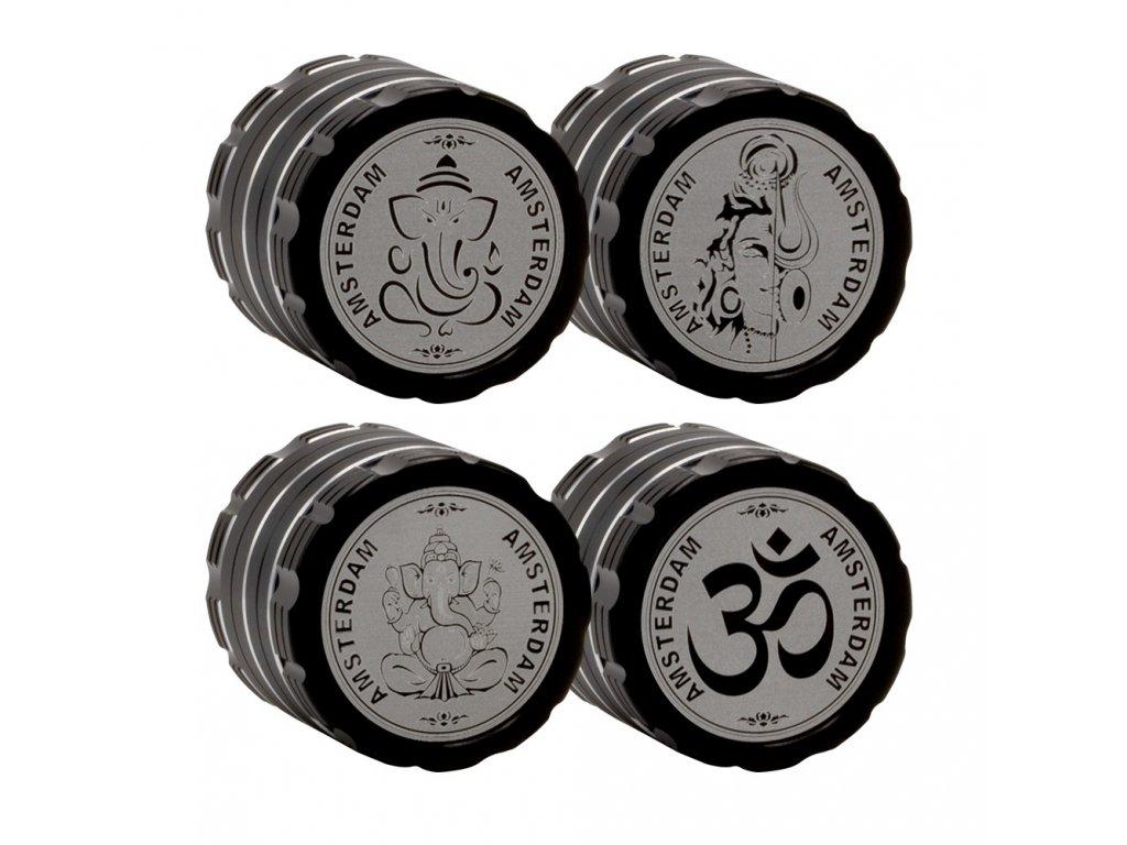 Kovová čtyřdílná drtička Amsterdam Shiva 40 mm Black