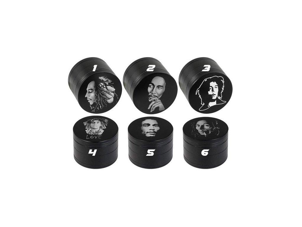 Kovová čtyřdílná drtička Amsterdam Full Print Bob Marlery 50 mm