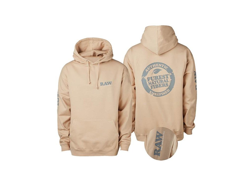 Mikina s kapucí Hoodie Raw Papers Stamp Logo Beige Silver