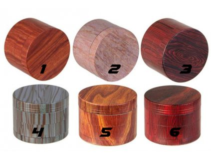 Kovová čtyřdílná drtička Amsterdam Full Print Wood 50 mm