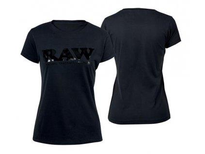 Dámské Triko Raw Rolling Papers Shirt Raw Classic Logo Black / Black