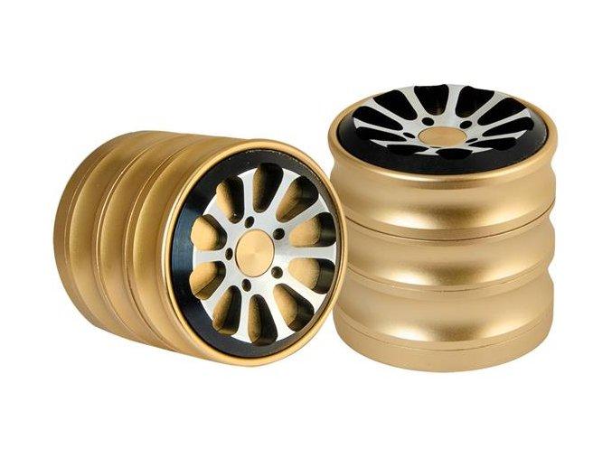 Kovová čtyřdílná drtička RoundWheel Gold