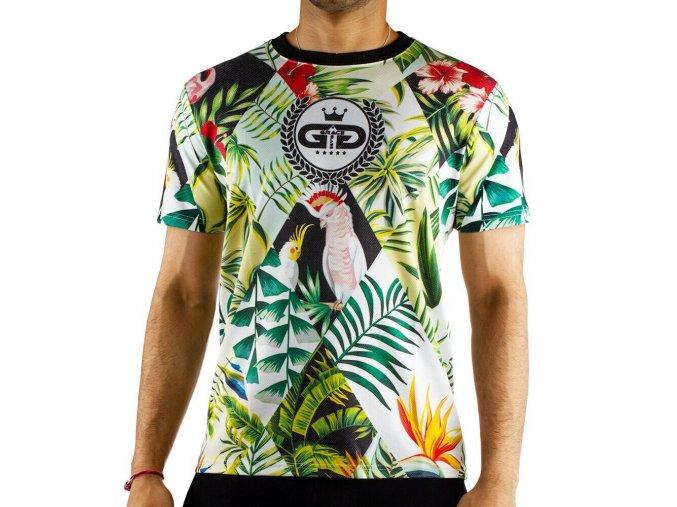 Grace Glass Football T-shirt Flower Parrot