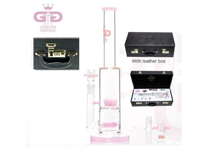 Skleněný bong Grace Glass Limited Series PINK Shrooms Luxury Set