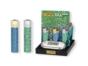 Kovový Zapalovač Clipper ® CMP11R Green + Blue Pattern