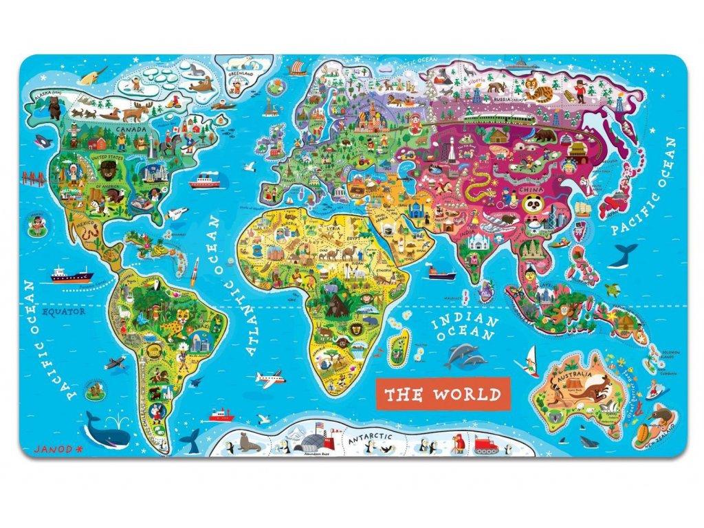 Velka Zavesna Magneticka Mapa Sveta V Anglictine Space4kids