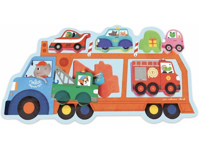 Dřevěné vkládací puzzle Přepravní vůz