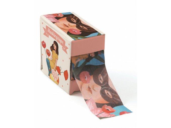 Lepící dekorační páska - Dívka s vlčími máky