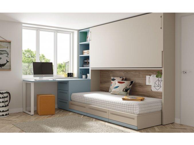 15 Patrová sklopná postel s psacím stolem a knihovnou