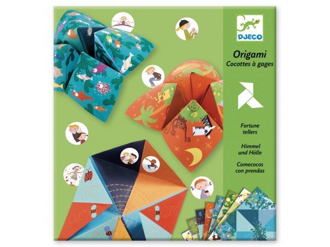 Origami skládačka Nebe, peklo, ráj zelená sada