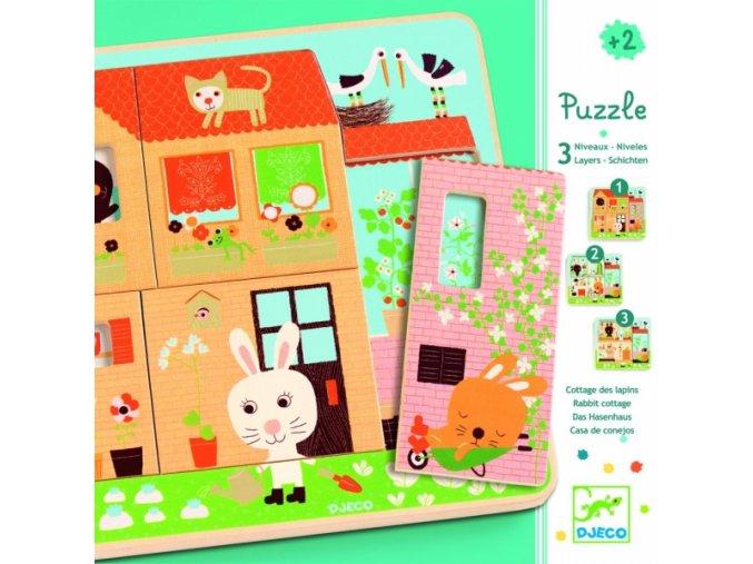 Djeco třívrstvé puzzle pro nejmenší Králíčci