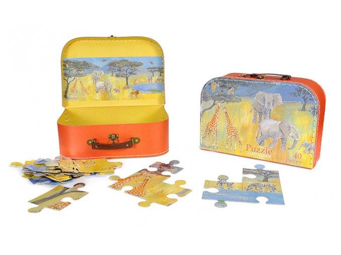 Obří puzzle v kufříku džungle