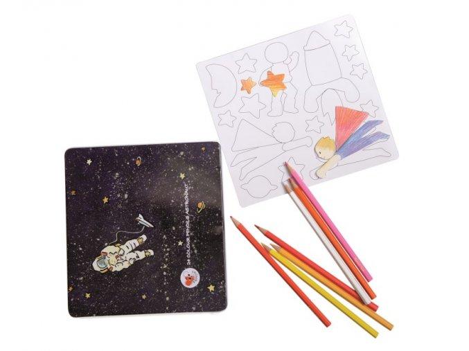 Kosmonautské magnety k dotvoření s pastelkami