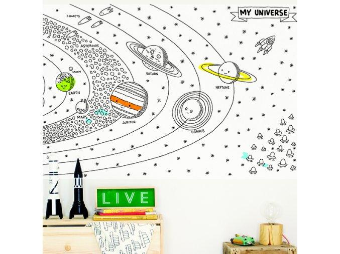 Dokreslovací nálepka - Vesmír