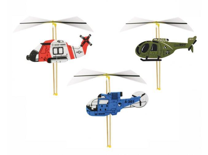 Skládací vrtulník s natahovací vrtulí - červený