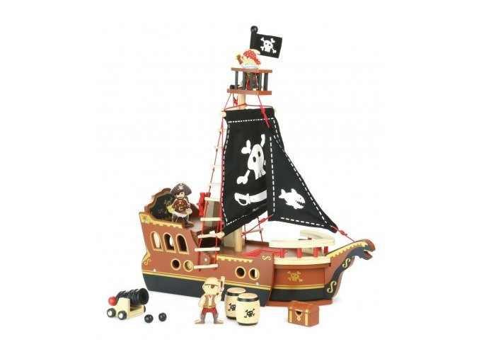 Dřevěná pirátská loď s figurkami