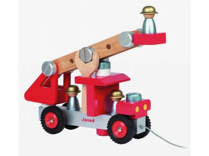 Dřevěná skládačka s nástroji - Hasičské auto