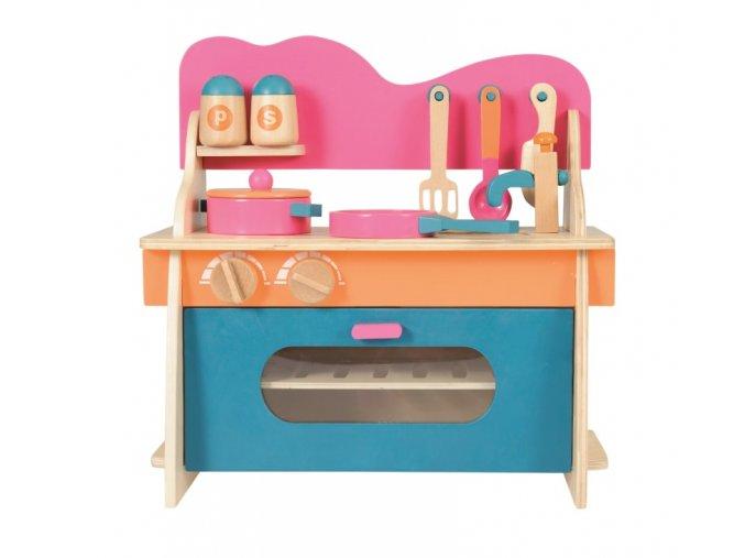 Malá dřevěná kuchyňka s příslušenstvím, 3+