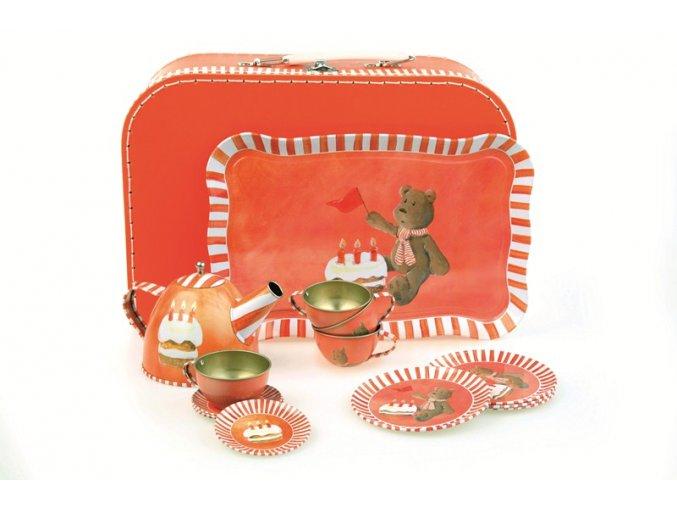 Kufřík s kovovým nádobím pro panenky - Méďa Max slaví