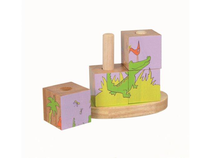 Skládací dřevěné kostky - Djungle