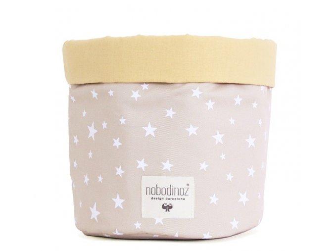 Látkový košík Mambo - Sand white stars, malý