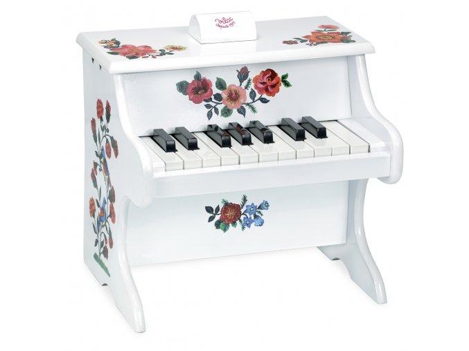 Bílé dětské piano s malovanými květy
