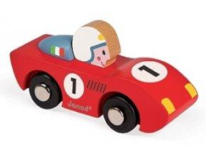 Dřevěné závodní auto - červené/modré