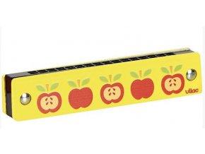 Foukací harmonika - žlutá s jablíčky