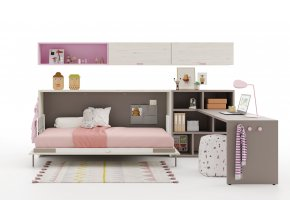 09 Sklopná postel UP&DOWN s knihovnou, psacím stolem a nástěnnými skříňkami
