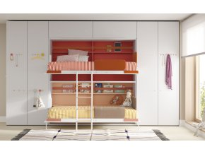 11 Patrová sklopná postel s šatní skříní
