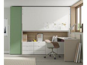 17 Patrová sklopná postel s úložnými prostory a psacím stolem