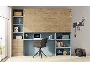 18 Patrová sklopná postel s psacím stolem a knihovnou