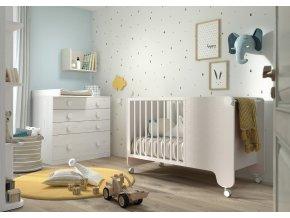 ROS01-Dětský pokoj SOFT s postýlkou, komodou a šatní skříní