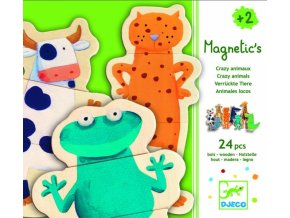 Dřevěné magnetky - skládačka zvířátka, 2+