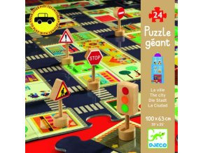 Djeco dřevěné puzzle Město jako autodráha 24 dílků
