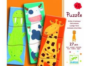 Dřevěné puzzle pro nejmenší Veselá zvířátka, 27 dílků