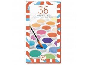 Vodové barvy se štětcem - 36 krásných barev