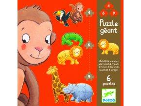 Djeco obří puzzle Opička a přátelé