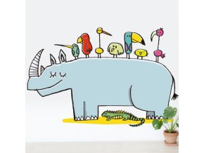 Nálepka na stěnu  Nosorožec
