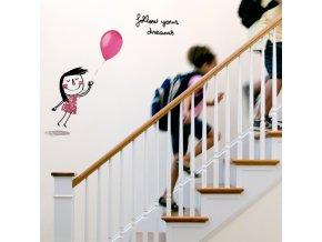 Nálepka na stěnu - Následuj své sny - holčičí