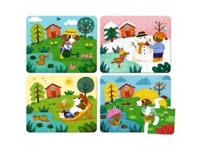 Dřevěné puzzle Čtyři roční období,  4 x 6 dílků