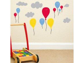 Nálepka na zeď - zábavná obloha s balónky