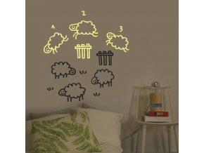 Svítící nálepka na stěnu - Počítání oveček - malá