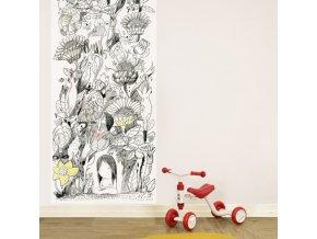 Dokreslovací tapeta - Děvčátko v zahradě