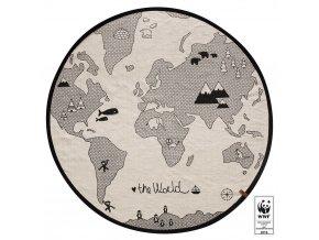 Černobílý koberec s mapou světa