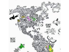 Dokreslovací nálepka - Mapa světa se zvířaty
