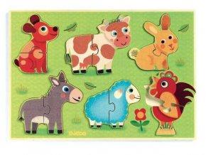 Dřevěné vkládací puzzle Na farmě